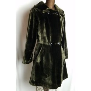 Vintage faux fur double breasted princess coat
